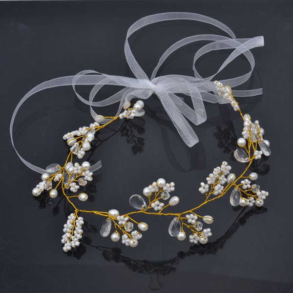 Pearl Prom Tiara Headband Crowns Tiaras Hairbands Romantic Sweet Garland Wedding Hair Accessories For Bride Bridesmaids Beach Jewelry DIY