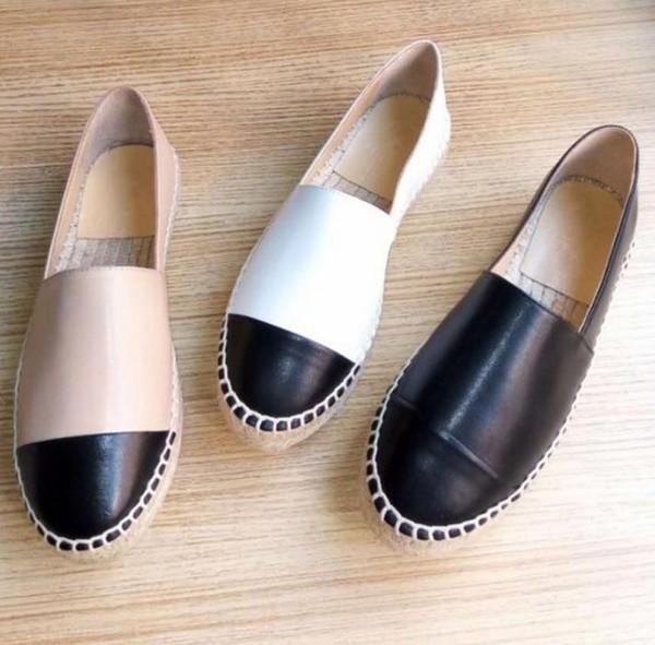 Top Qualité Espadrilles Chaussures Noir Cap En Peau D'agneau Toe Espadrille Appartements Noir / Blanc En Cuir Dames Femmes En Cuir Véritable Designer Chaussures 34-42