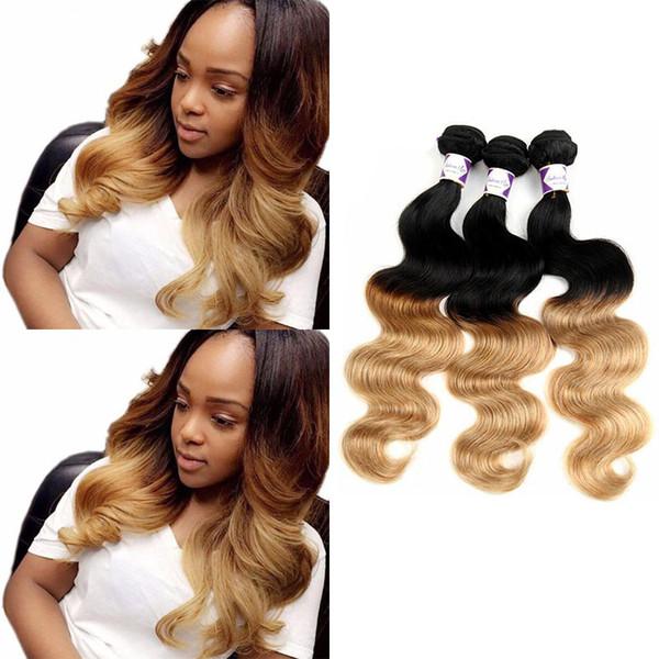 8A Ombre Hair Extensions 1B/27# Blonde Ombre Virgin Human Hair 3Pcs 100g/pcs Two Tone Body Wave Hair Weave Brazilian Peruvian Malaysian