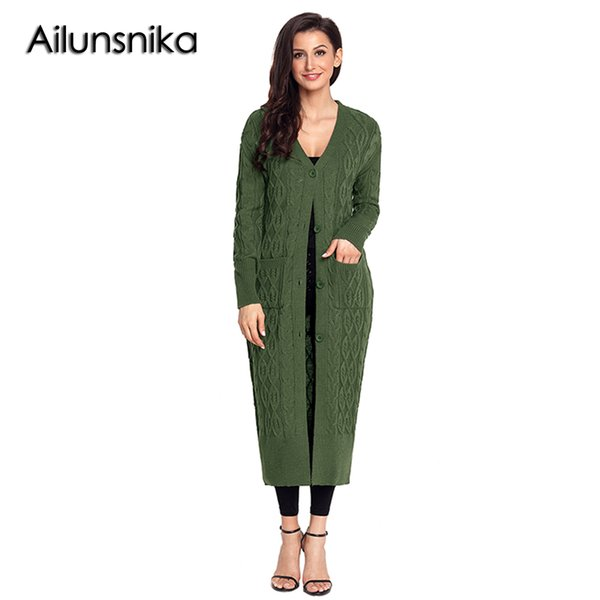 Ailunsnika 2018 New Spring Winter Women Open Front Sweater Casual Army  Green Grey Khaki Black Cable Knit Long Cardigan DL27781 92b45ff93