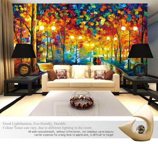 Large 3D Wallpapers mural Abstract Modern Wall Painting Rain Tree Road Palette Knife Oil Painting Canvas Wall Home Decor Decorat