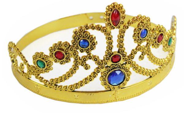 COSPLAY Luxo Rainha do Rei Coroa Moda Festa Chapéus de Pneu Príncipe Princesa Coroas Chapéu de Festa de Aniversário de Prata de Ouro 2 Cores Com Sacos de OPP
