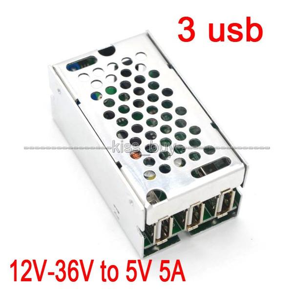 Livraison gratuite dc 12V-36V à 5V 5A power buck module 3 USB pour voiture Android Apple chargeur de téléphone 24V Charge