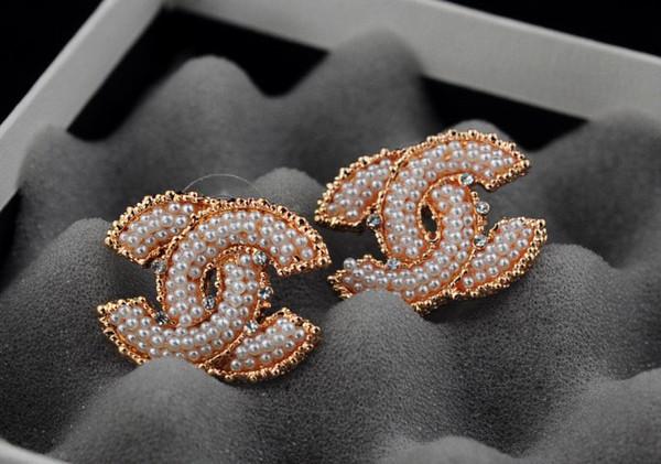 Usine Prix Haute Qualité De Luxe Perle diamant Boucles D'oreilles De Mode en métal Lettre parfum bouteille boucles d'oreilles Avec Boîte