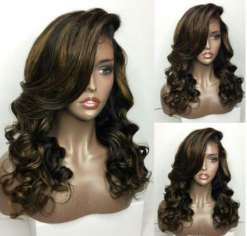 Highlight color ombre lace front wig natural hairline virgin brazilian hair loos wave full lace wigs with baby hair free shipping