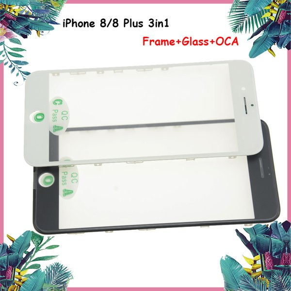 For iphone 8 8 Plus Front Outer Touch Screen Glass Cold Press Middle Frame Bezel+ OCA Installed Glass Lens Replacement Black & White DHL
