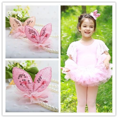 FJ045 Lovely Bunny ears with sequins Fabric lace Hair clamps Girls headwear accessory Fringe clips Christmas gifts