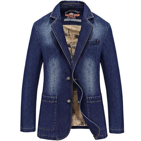 New Denim Blazers Men Nueva moda Jean Blazer Jacket Slim Fit trajes para hombre Casual Blazer Chaquetas de los hombres