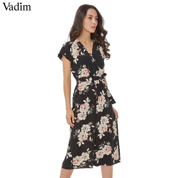 Vadim V neck vintage floral wrap jumpsuits wide leg pants bow tie sashes elastic waist rompers short sleeve casual playsuitsY1882902
