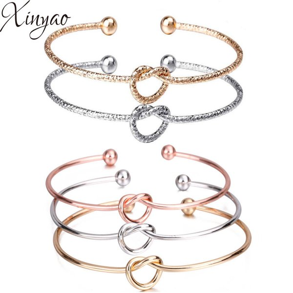 XINYAO 2018 Minimalist Knot Bangles For Women Gold Silver Color Open Cuff Ball Beads Charm Bangle Bracelets Fashion Jewelry