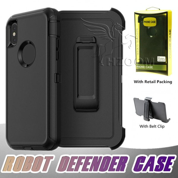 Top Quality 3 in 1 Rugged Defender Case Hybrid Robot Cases Cover With Belt Clip For iPhone XS MAX XR X 8 7 6S Plus Samsung S9 S8 S7 Note 9