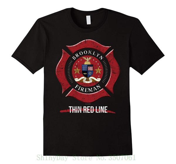 Maglietta del pompiere di Brooklyn Maglietta del pompiere dei regali Maglietta della maglietta di New York Maglietta della maglietta del manicotto degli uomini di Cool Top Tops