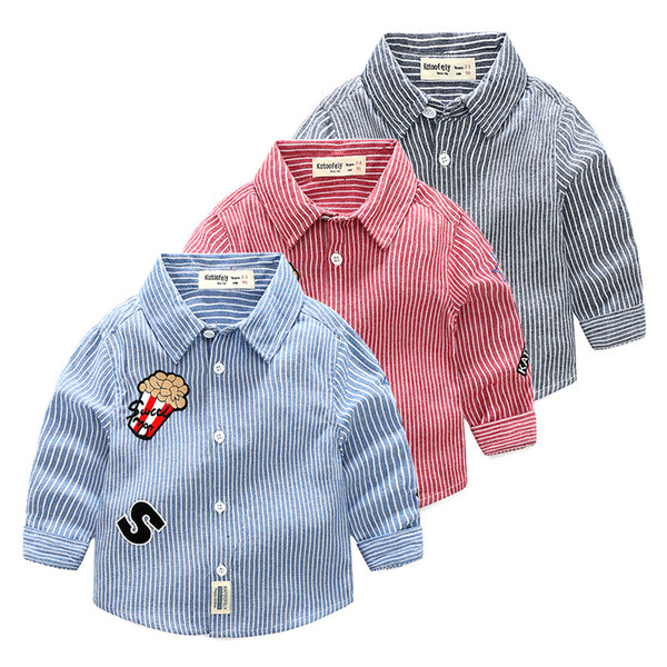 Boutique Oxford boys shirts pure cotton power Popcorn letter S embroidery kids clothing wholesale cheap China 90-100-110-120-130 5pcs/lot
