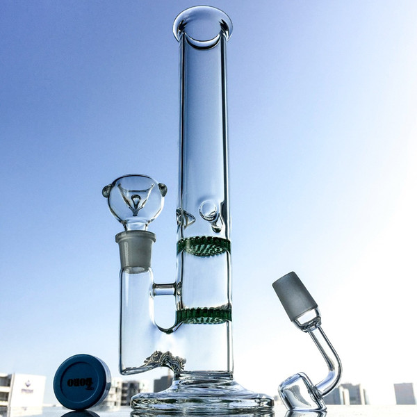 Double Honeycomb Perc Glass Bong Straight Bongs Colored percolator Water Pipes Ice Pinch Straight Tube Rig Round Base Glass Rig 100X