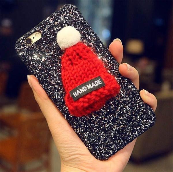 3D Cute Lovely Christmas Cap Cartoon Glitter Phone Case For Iphone X XR XS MAX Glitter Heart Phone Case For Iphone 8