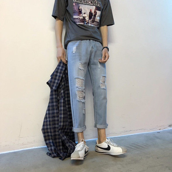 2018 Spring And Summer New Male Torn Jeans Light Blue Slim Large Size Casual Fashion Personality Trousers Street Trend Jogger