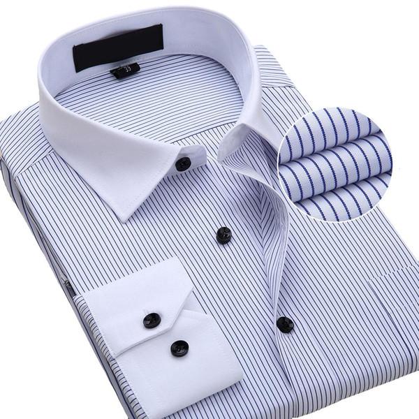 Wholesale- New Fashion Trend Men Shirts Dress Striped Shirt Men's Long Sleeve Formal Male Clothing Turn-down Collar Camisa Social Mascu