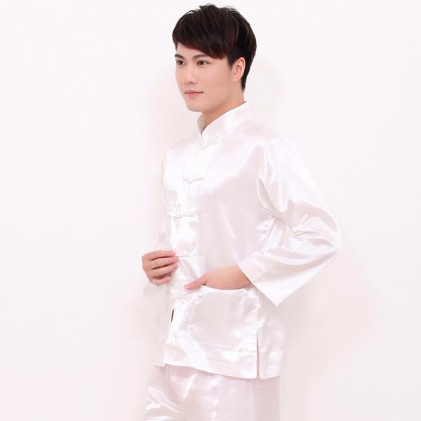 Beyaz Çin Tarzı Erkekler Rayon Yumuşak Pijama Takım Eski Tek Göğüslü Pijama Uzun Kollu ShirtPant Pijama M L XL XXL