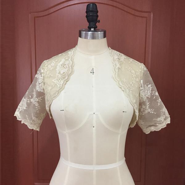 Champagne Wedding Bridal Bolero Jacket Cap Wrap Shrug Cheap Short Sleeve Front Open Lace Applique Sheer Jacket for Wedding Bride Custom Made