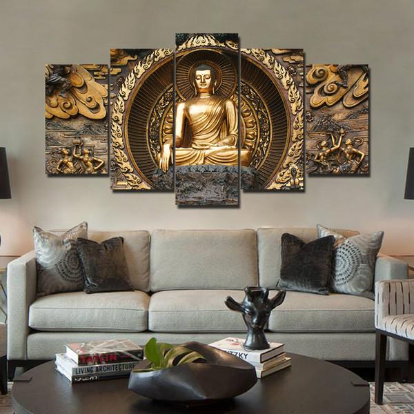 Acheter Hd Imprimer 5 Pièce Toile Art Doré Abstrait Bouddha Peinture Mur Photos Pour Salon Affiches Décoration De 36 18 Du Weichenart Dhgate Com