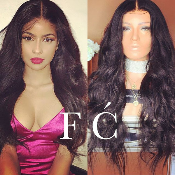 Smooth grade 8a virgin baby hair for women most popular human hair 100% unprocessed long natural color natural wave full lace wig