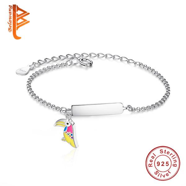 BELAWANG Customized Children Woodpecker Bird Bracelet Fashion Enamel Chain Link Adjustable Bracelets for Kids Silver Jewelry