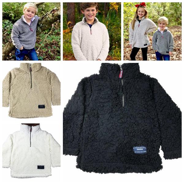 kids Fleece Thick Winter Warm Sweatshirt For Girls Kids plush hoodies winter coat Sherpa Pullover outwear LJJK1101