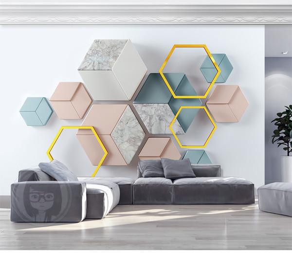 Benutzerdefinierte Einzelhandel 3d Moderne Minimalistische Geometrische Marmor Mosaik TV Hintergrund Wand Stereo Marmor Schränke Mosaik Wandmalereien