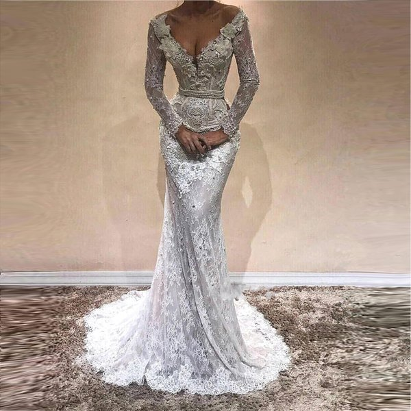 Glamorous Mermaid Manches Longues Robes De Bal 2018 Full Lace V-Neck Robe De Soirée En Cristal Strass Plus La Taille Pageant Robes BA9809
