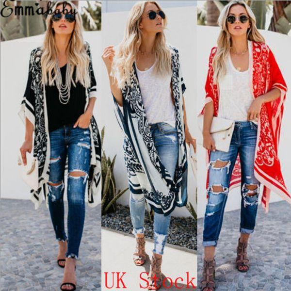 New Europe Style Women Chiffon Coat Vintage Floral Boho Jacket Cardigan Cover UP Beach Wear Lady Fashion Casual Kimono Shirt