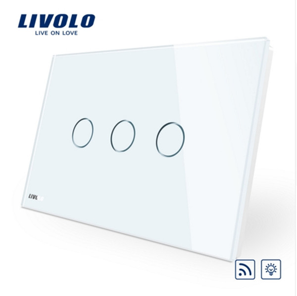 Livolo AU/US standard, Wireless Switch VL-C903DR-11,White Glass Panel Touch Screen, Dimmer and Remote Home Wall Light Switch