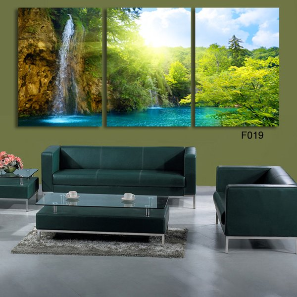 Modular HD Print Artwork Green Forest Nature Landscape 3 Pieces Home Decor Canvas Painting Picture For Living Room F019