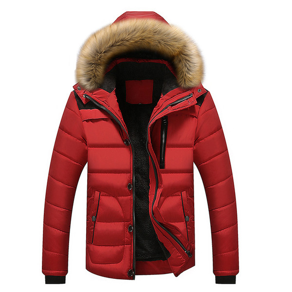 18Winter men's cotton raccoon dog hair collar cap casual cotton padded men's jacket mens winter jackets and coats Wool