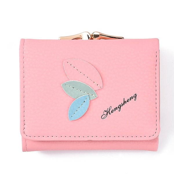 Women Mini Wallets Female Leaves Pattern Short Money Wallets PU Leather Lady Coin Purses Card Holder
