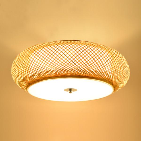 Großhandel Bambus Weben Lampe Runde Deckenleuchten Garten Rattan Lampe LED  Wohnzimmer Antike Lampe Tatami Schlafzimmer Studie Deckenleuchte Von ...