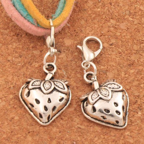 100pcs/lot Strawberry With Leaf Lobster Claw Clasp Charm Beads 14.7x33.9mm Tibetan silver Jewelry DIY C930