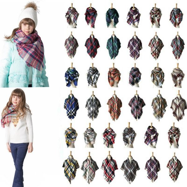 kids Children's Winter Plaid Scarf Baby Colorful Cashmere Shawl Scarves and Wraps Brand winter Square warm Scarf 100*100cm MMA639 20pcs