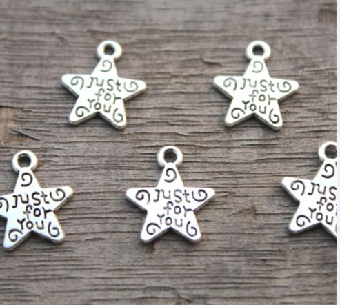 50pcs / lot-Just for You encantos, Estrella de plata antigua