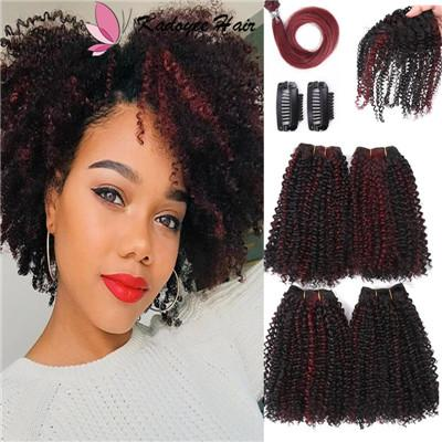 4pcs/pack short hair 12inch Afro kinky Curly Synthetic Wefts Sew in Hair Extensions with closures clip in human hair feeling wefts