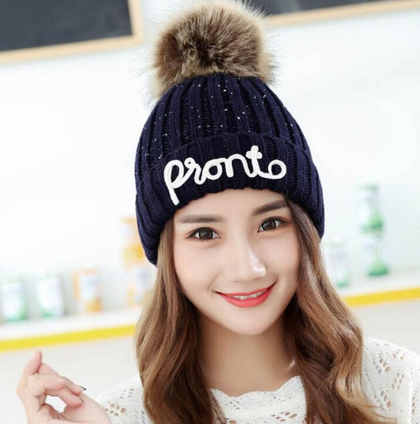 Hat 2018 autumn and winter ladies cute plus velvet embroidery wild wool big letter bike knit hat