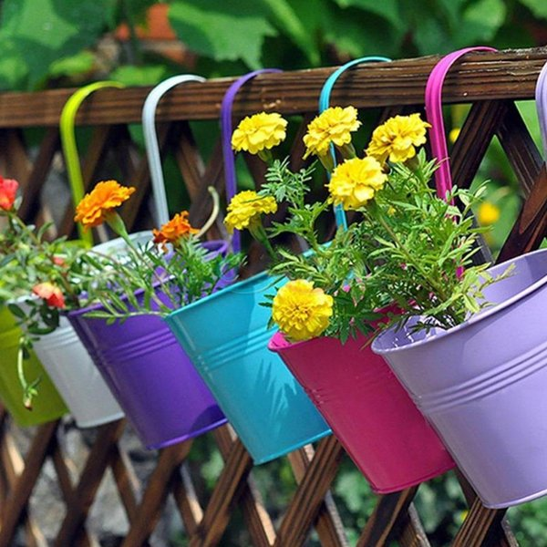 Unique Metal Iron Hanging Flower Pot, Candy Colors Balcony Garden Plant Planter For Wall Vase Fence Window Home Decor 0216