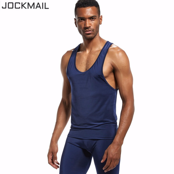 JOCKMAIL New Quickly Dry Mens Running Shirts Compression Tights Gym Tank Top Fitness Sleeveless T-shirts Sport SHM Best Running