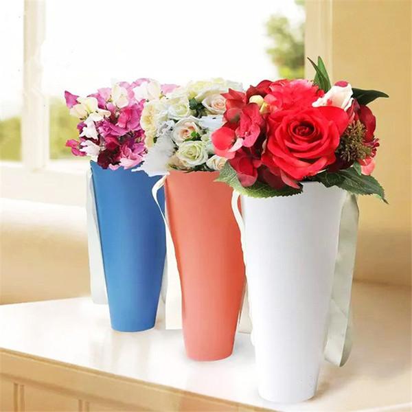 10pc alta qualità portatile in pvc sacchetto abbraccio secchio tromba confezione regalo negozio fiorista fiore bouquet pacchetto
