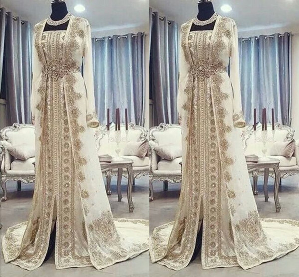 best selling Moroccan Caftan Kaftan Evening Dresses Dubai Abaya Arabic Long Sleeves Amazing Gold Embroidery Square-Neck Occasion Prom Formal Gowns