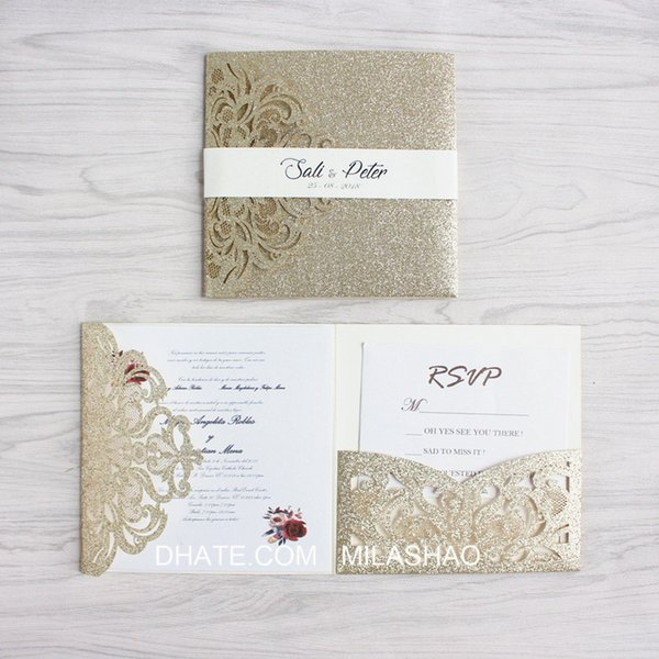Luxury golden wedding invitation with RSVP envelop belly band tri-fold pocket invites wedding decoration supply free ship