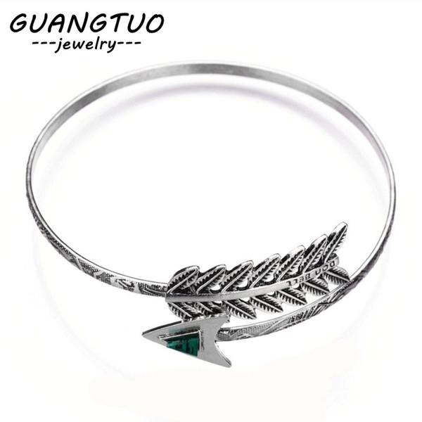 New Fashion Jewelry Vintage Leaves Arrows Adjustable Bangles Bracelet For Women Man Retro Bijoux Armband Hot Sales LB015