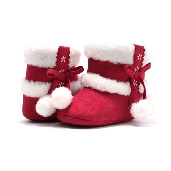 Dupla Bolas de Lã Inverno Quente Sapatos de Bebê Botas de Neve Sola Macia Menina Menino De Lã Berço Botas De Pele Sapatos Infantil Menino