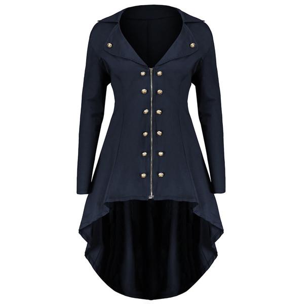 Gothic Plus Size Azul Longo Trench Coats Mulheres Slim Assimétrica Elegante 2018 Outono Casaco de Escritório Senhoras Casaco Outerwear Do Vintage