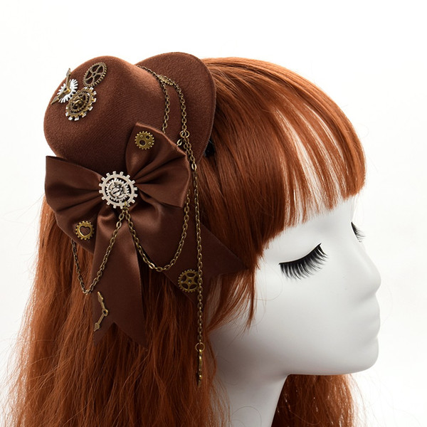 Women Vintage Steampunk Lolita Girls Black Little Mini Top Hat Hair Clip Rose Floral Lace Chain Mini Fedora Headwear Vintage Party Gift
