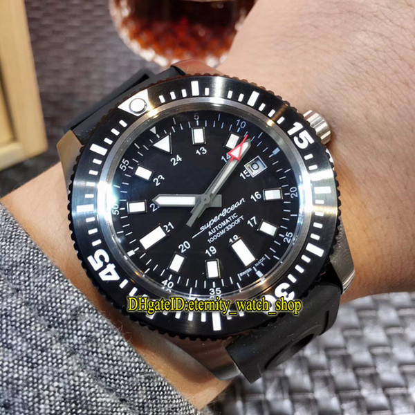 SUPEROCEAN 44 Y1739310|BF45|227S|A20SS.1 Date Black Dial Japan Miyota Automatic Mens Watch Unidirectional rotation Bezel Rubber Band Watches